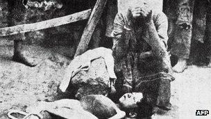 Armenian lady mourns upheld child in 1915