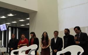 LeftToRight Edgard Tenembaum Cigdem Mater Micheline Marcom Aharonian Sona Tatoyan Jose Rivera Shekhar Kapur and Vahe Yacoubian 300x188 Major Armenian Genocide Film Launched during TUMO Center