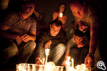 On Jun 30 several thousand people attend an dusk candlelight burial during Yerevan's Harsnakar restaurant, where Vahe Avetyan was beaten. (Photo: Anahit Hayrapetyan)
